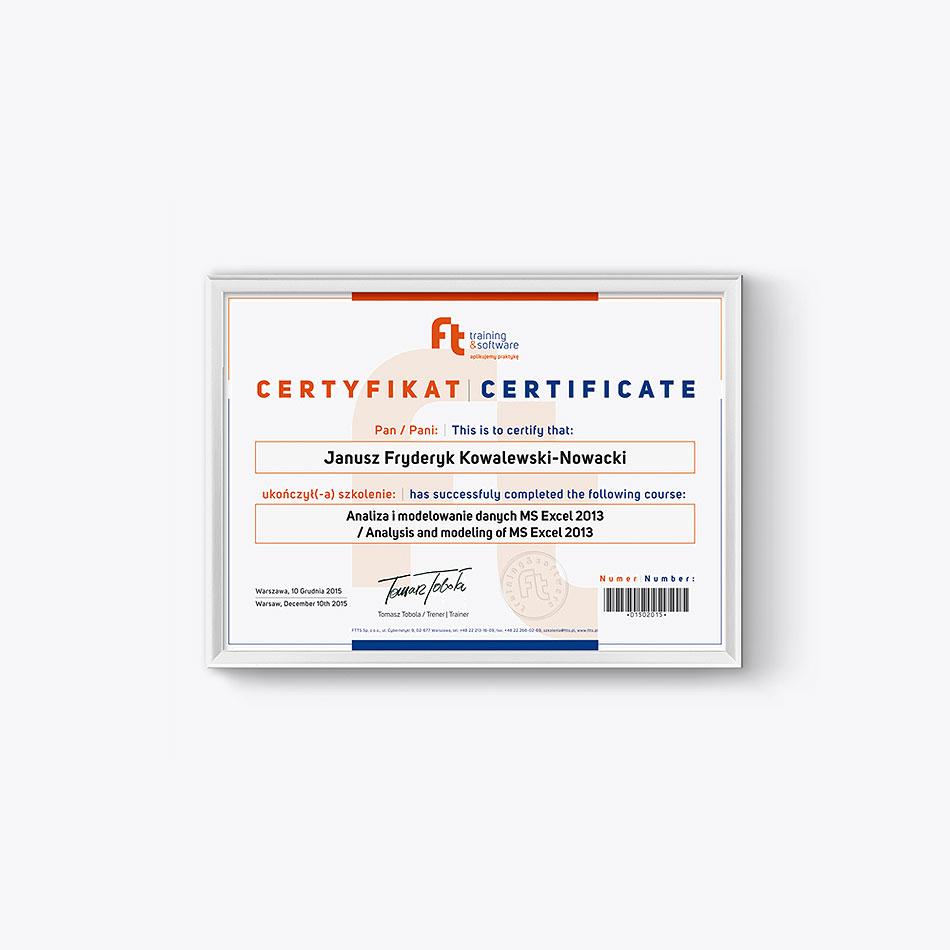 wzór certyfikatu dla uczestników szkolenia